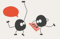 Das Logo Billy redet mit einen anderen Billy. Über einen ist eine Sprechblase, das andere hat einen Notizblock in der Hand.