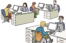 Menschen in einen Redaktionsraum.