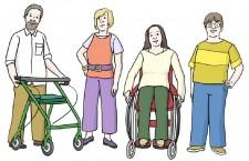 Vier Menschen: der eine hat ein Rollator und eine sitzt im Rollstuhl