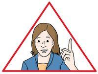 Eine Frau im Dreieck mit erhobenen Zeigefinger