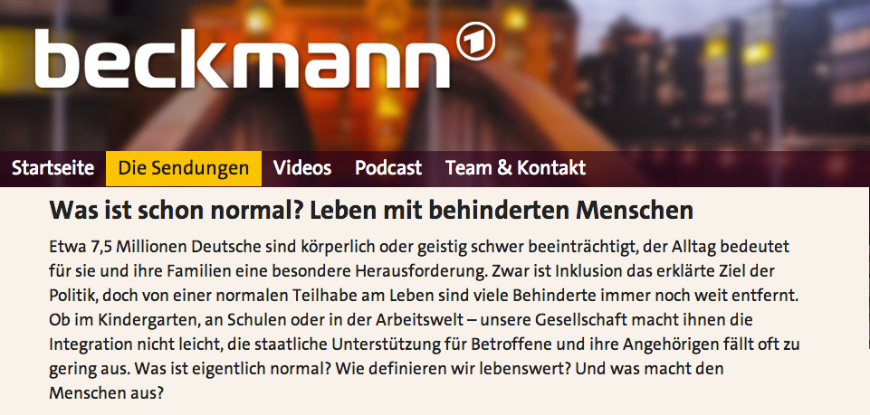 Screenshot von Sendungsseite Beckmann mit Ankündigung