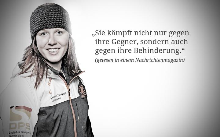 """Die paralympische Athletin Andrea Rothfuss schaut in die Kamera. Der Spruch """"Sie kämpft nicht nur gegen ihre Gegner, sondern auch gegen ihre Behinderung."""" ist neben ihr zu sehen."""