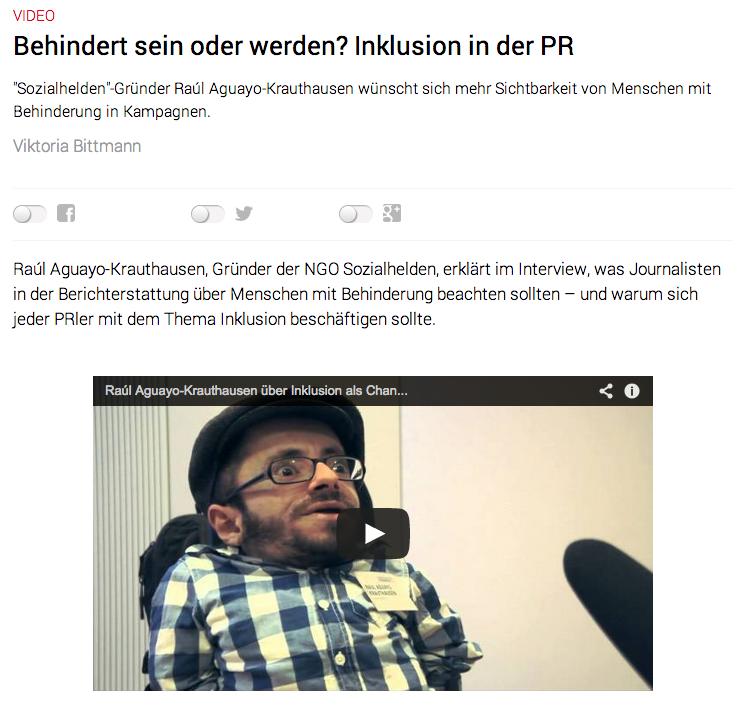 Chancen von inklusiver PR – Raul Krauthausen im Magazin Pressesprecher