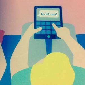 """Deckblatt vom Nummermagazin. Eine Grafik zeigt einen Mann mit blonden Haaren, der in sein Handy """"Es ist aus!"""" als SMS tippt. Neben ihm sitzt eine Frau."""