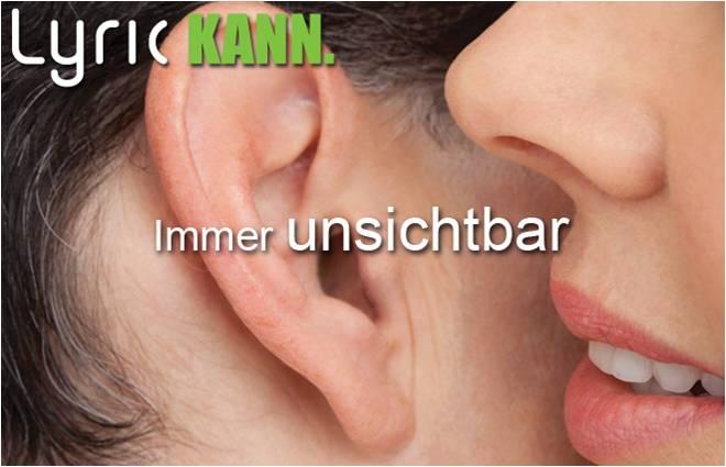 """Man sieht den Mund einer Frau, die etwas in das Ohr eines Mannes spricht. Darüber der Schriftzug """"Lyric kann. Immer unsichtbar."""""""