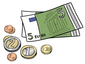 Comic: 5-Euro-Geldscheine und Münzen von 2 Euro, 1 Euro, 10 Cent, 2 Cent und 1 Cent liegen verteilt auf dem Boden.