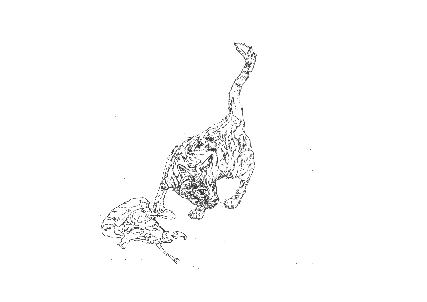 Comic: Eine schwarz-weiße Zeichnung einer getigerten Katze, die ein Stück Pizza gegessen hat.