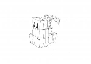 Comic: Eine schwarz-weiße Zeichnung von Umzugskisten., die mit einem großen Klebeband verschlossen sind. Auf einer Kiste steht eine kleine Zimmer-Palme.