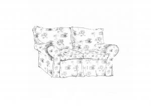Comic: Eine schwarz-weiße Zeichnung von einem gemütlichen Sofa. Es hat zwei große Kissen zum Anlehnen und zwei Armlehnen. Das Muster sind Blumen.