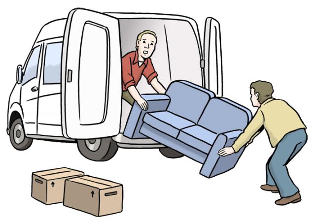 Comic: Zwei Männer tragen ein blaues Sofa aus einem weißen größeren Fahrzeug. Daneben stehen zwei Umzugskisten.