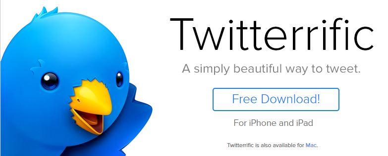Ein Blauer Vogel mit weit offenem Schnabel winkt. Es ist das Symbol der Firma Twitterrific.