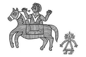 """Das Bild zeigt eine Zeichnung aus dem Buch """"Bärenzart"""". Es zeigt einen mit dünnen Strichen gezeichneten Ritter auf einem Pferd und eine kleinere Figur ohne Gesicht hinter ihm."""