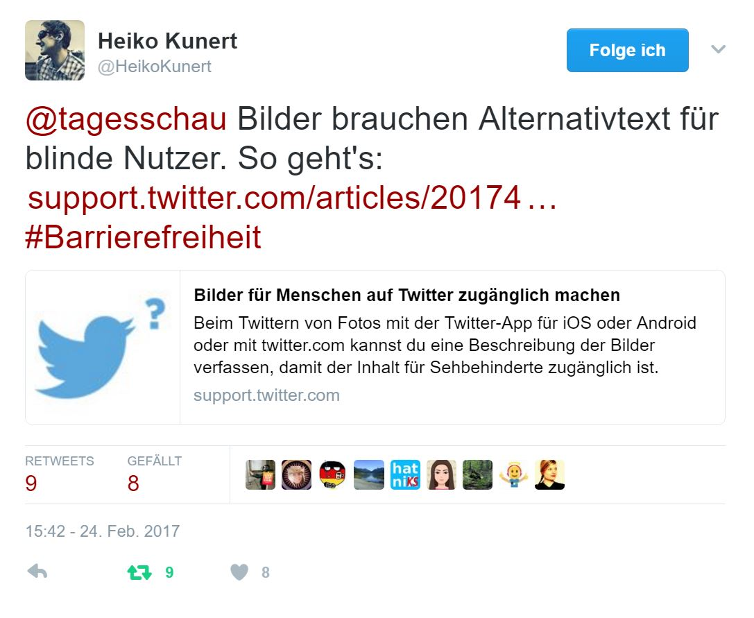 Heiko Kunert macht in einem Tweet die Tagesschau darauf aufmerksam, dass Bilder bei Twitter mit einem Alternativtext versehen werden sollten.