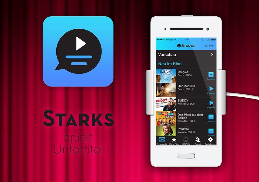 Zu sehen ist ein Smartphone, darauf die App Starks. Es sind verschiedene Kinofilme zur Auswahl zu sehen.