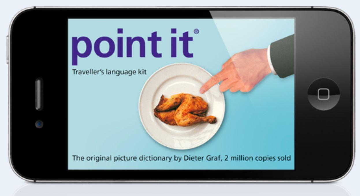 """Ein Smartphone ist zu sehen. Auf dem Display ist ein Brathähnchen zu sehen. Darüber der Schriftzug """"Point it""""."""