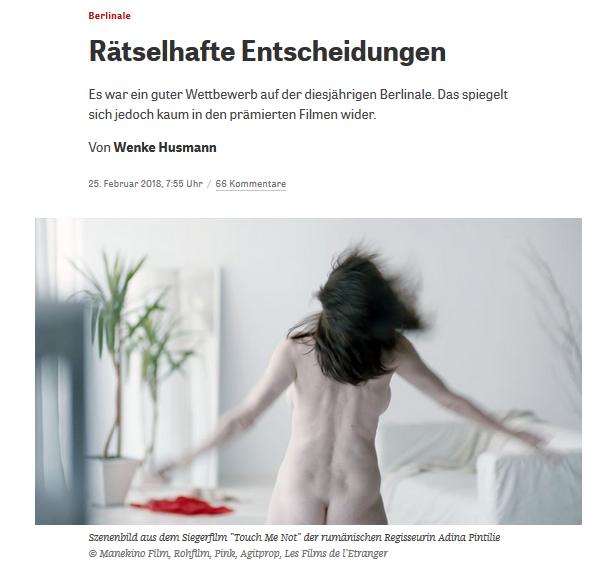 """""""Touch Me Not"""" – Medienkritik zur Preisvergabe """"Goldener Bär"""" der Berlinale"""